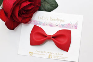 Smooth Red Faux Leather Bow Tie