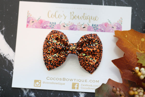October 31st- iridescent Chunky Glitter Bow- - Various Sizes