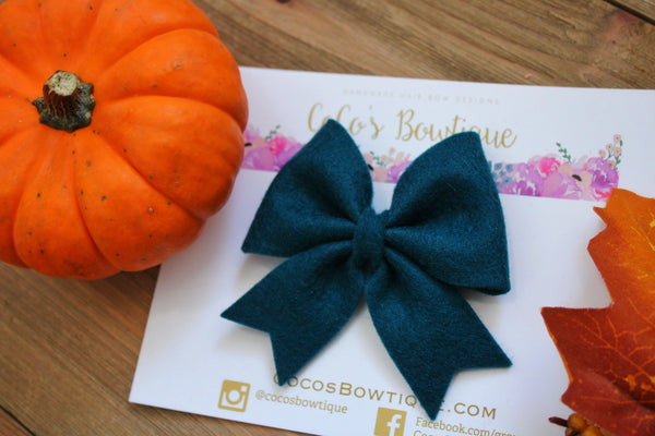Teal- Feltie Bow- 100% Wool Felt Hair Bow- Fall Hair Bows- 2 Sizes