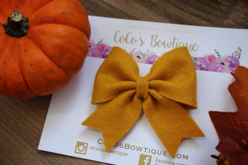 Goldenrod- Feltie Bow- 100% Wool Felt Hair Bow- Fall Hair Bows- 2 Sizes