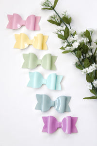 Sage- Patent Leather hair bow- Various Sizes