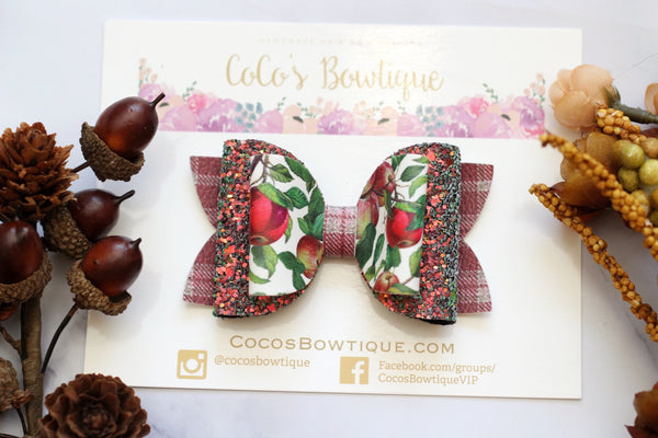 Sweet Apple Cider - Fall Double Bow- 3 sizes