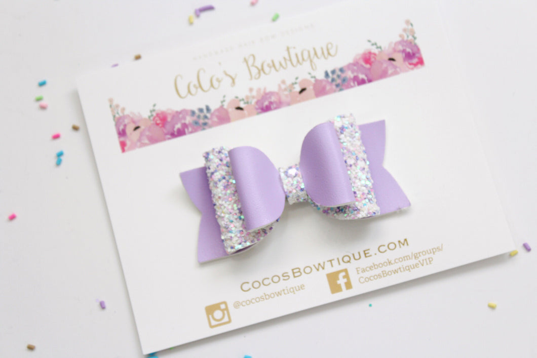 Lavender Dream- Faux leather/Glitter Double Bow- 3 sizes