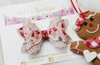Gingerbread Kids- Arielle-Style Bow- Faux Leather/glitter hair bow- Disney Bows