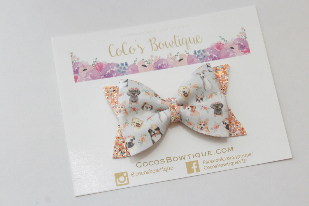 Puppy Love Faux Leather/Glitter Hair Bow