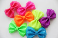 Neon Pink- Neon crystal Glitter hair bow- Various Sizes