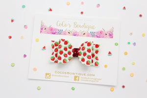 Strawberries- Summer Fruit Bows- Faux Leather/Glitter hair bow- Various Sizes
