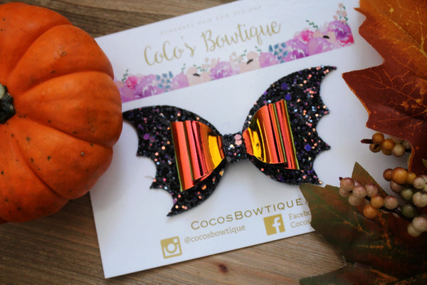 Fright Night- Orange Holographic Halloween-Inspired Bat Wing Bow