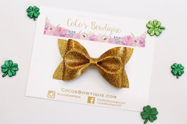 Gold Shimmer Patent Leather - Green Faux Leather Hair Bow- Various Sizes