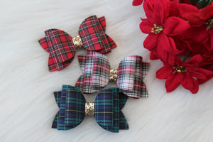 Hunter Green Tartan Plaid- Fabric Felt double bow- 3 sizes