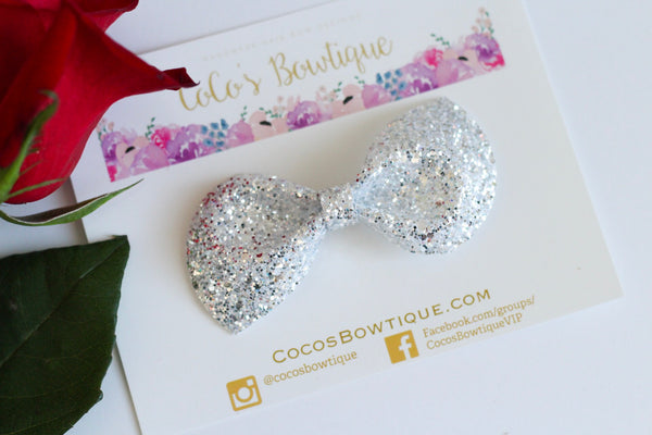 Diamonds Are a Girl's Best Friend- Chunky Diamond Glitter Bow- - Various Sizes