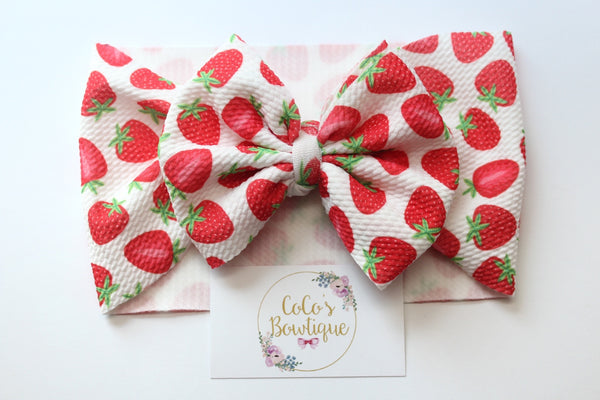Strawberries- Stretchy Liverpool/Bullet Bow Wrap- Choose Size