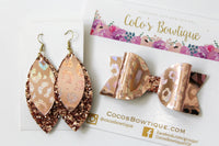 Holo Rose Gold Leopard- Layered Petal Earrings- Handmade Earrings- Nickel Free