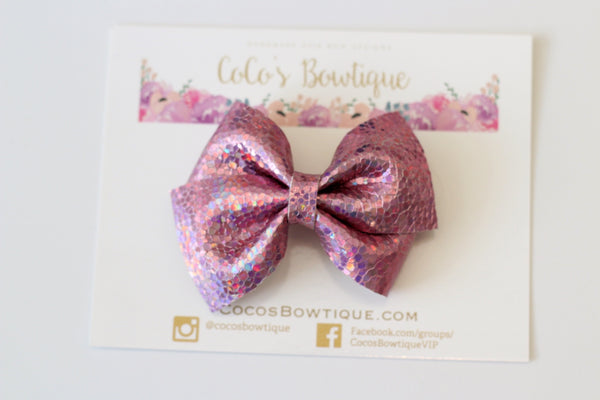 Pink Disco- Holographic Faux leather Bella Bow- 2 sizes