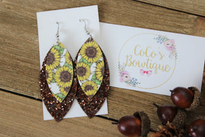 Sunflower Fields-Layered Petals- Handmade Earrings- Nickel Free