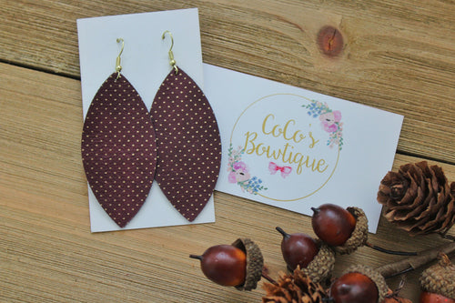 Burgundy- Metallic Dot Faux Leather Petals- Handmade Earrings- Nickel Free
