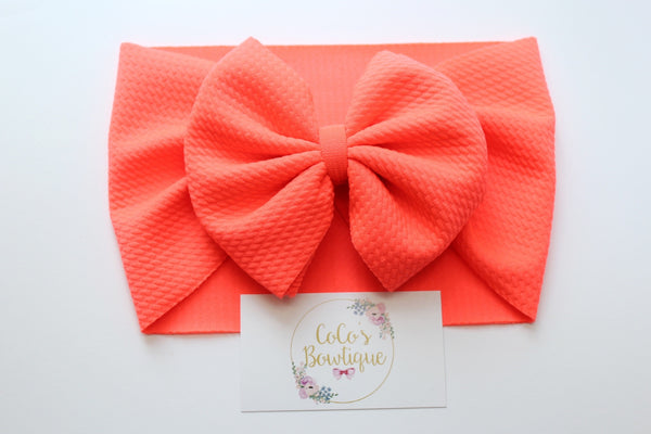 Neon Coral- Stretchy Liverpool/Bullet Bow Wrap- Choose Size