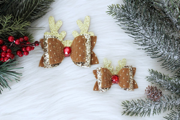 Rudolph the Red-Nosed Reindeer double bow- 2 sizes
