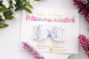 Lavender Fields- Faux Leather/Glitter hair bow- Various Sizes