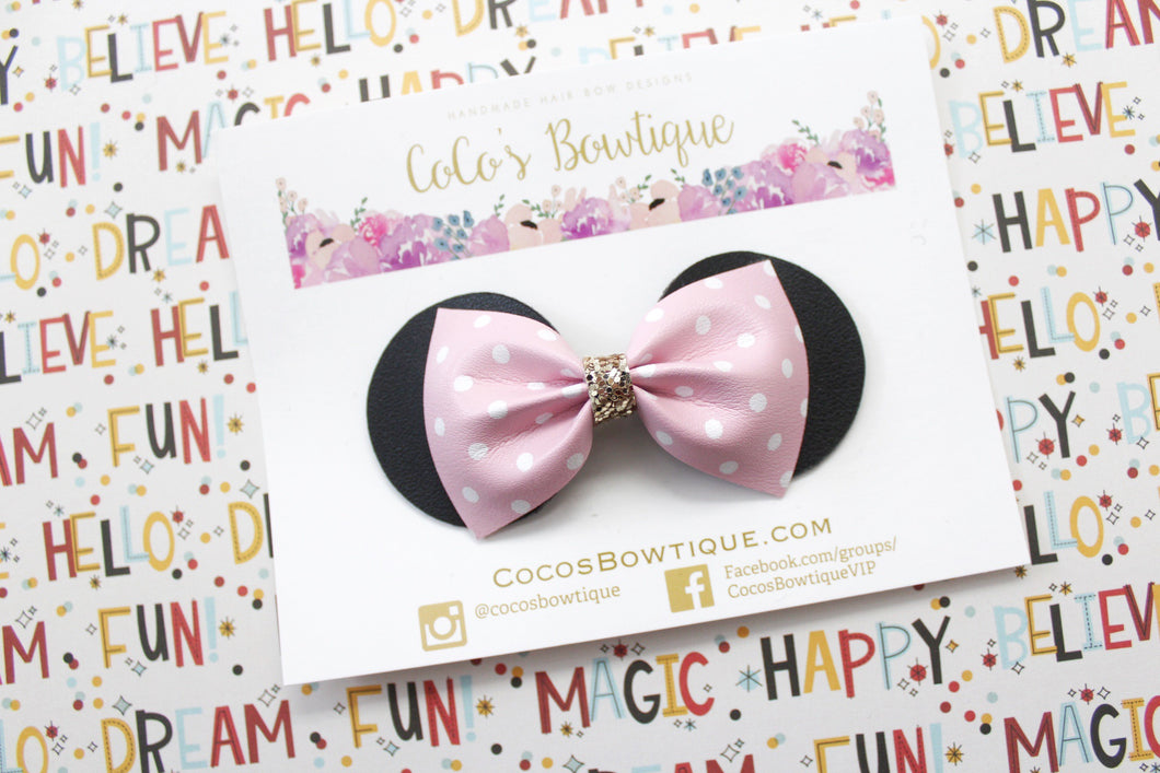 Minnie Mouse Ears Bow- Light & White Polka Dot faux leather bow- Disney-Inspired