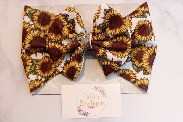Field of Sunflowers- Stretchy Liverpool/Bullet Bow Wrap- Choose Size