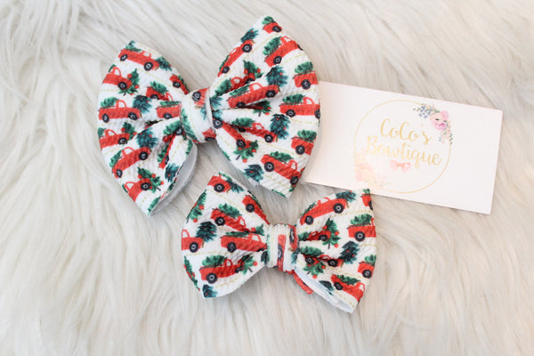 Little Christmas Trucks- Stretchy Bullet fabric Bows- Choose Size