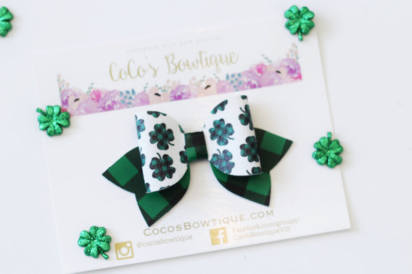 Farmhouse Clovers- Buffalo Plaid Clover Printed Faux Leather Hair Bow- Various Sizes