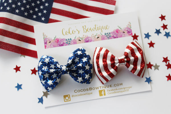 Star Spangled Pigtail Set- Patriotic Hair Bows- 2 sizes