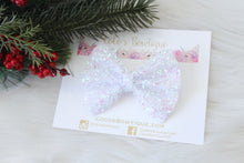 White- Holiday Tinsel Bows- Various Sizes- Christmas bows