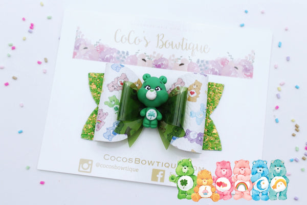 Good Luck Bear- Care Bears-Inspired Clay Center Bow- Limited Edition