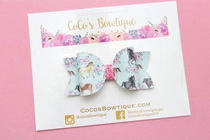 Wild Horses- Faux Leather/Glitter hair bow- Various Sizes