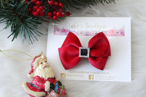 Santa's Helper- Velvet Santa-inspired Bella Bow- 2 sizes