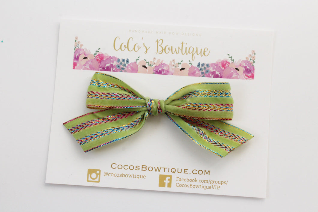 Avocado Green- Hand Tied Velvet bow w/ metallic design- Summer Boho Bows- One Size
