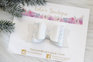 Ice Queen- White Faux Glitter suede/iridescent glitter double bow- Winter hair bows-3 sizes