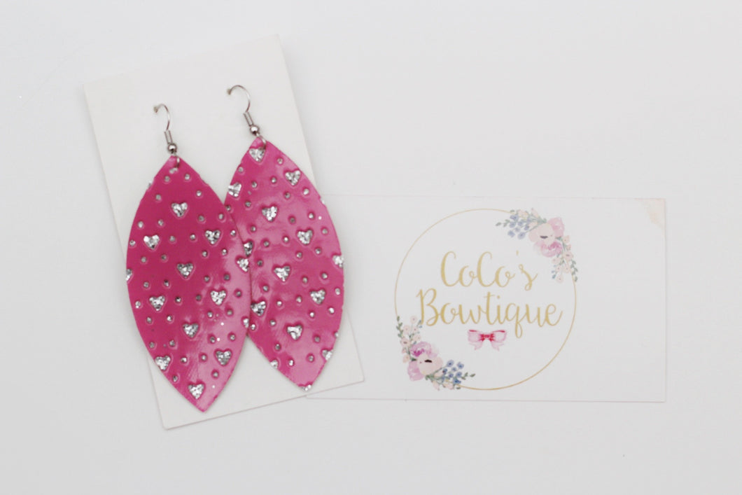 Hot Pink Mini Hearts Faux Leather Petal Earrings