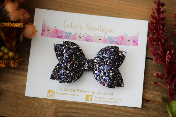 Moonlight- Chunky Glitter Bow- Fall Hair Bows-Various Sizes