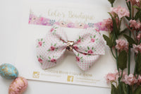 Gingham & Roses- Spring Floral Faux Leather Bella Bow- 2 sizes