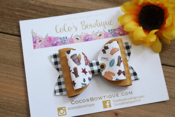 Fall Basics- Fall-Inspired Double Bow- 3 sizes