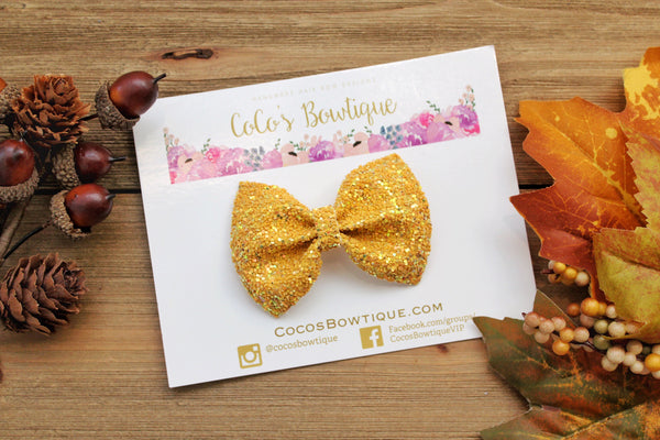 Indian Summer- Mustard Yellow Iridescent Crystal Glitter Bow- Fall Hair bows- Various Sizes