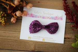 Mulberry- Jewel Tone Crystal Glitter Bows- Various Sizes
