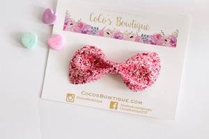 Valentine- Chunky Glitter Bow- - Various Sizes