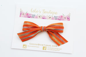 Orange- Hand Tied Velvet bow w/ metallic design- Summer Boho Bows- One Size
