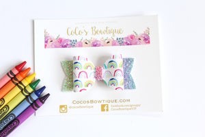 Scribble Rainbows- Faux Leather/Glitter hair bow- Various Sizes