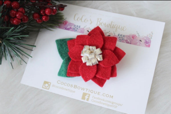 Poinsettia - Wool Felt Rose Flower- Available on all attachments