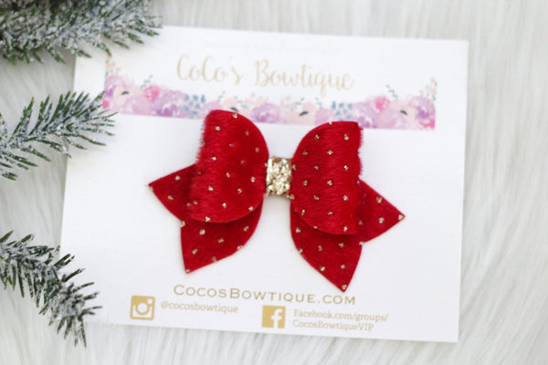 Red- Gold Dot Faux Fur bow- Various Sizes- Holiday bows