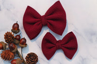 Sangria- Stretchy Liverpool/Bullet Bows- Choose Size