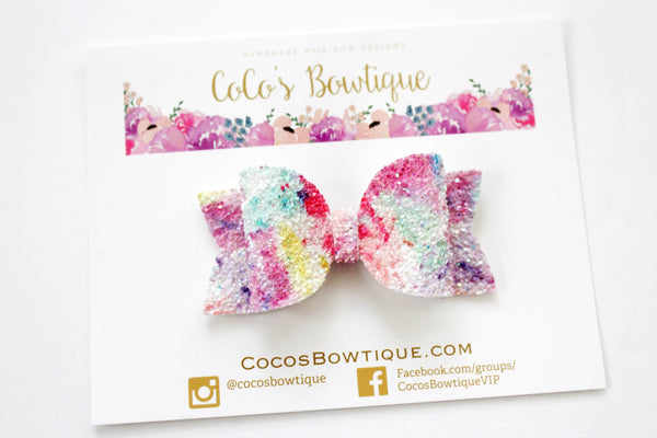 Color My World- Water Color Iridescent Glitter hair bow- Various Sizes
