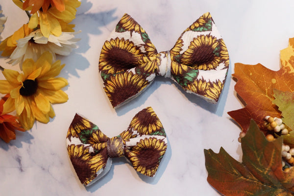 Field of Sunflowers- Stretchy Liverpool/Bullet Bows- Choose Size