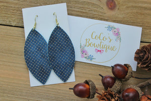 Navy- Metallic Dot Faux Leather Petals- Handmade Earrings- Nickel Free