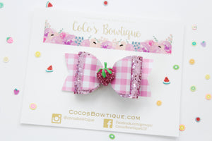 Strawberry Picking- Pink gingham faux leather/glitter Double Bow w/ rhinestone strawberry - Ready to Ship